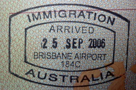 Immigration Australia Stempel